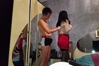 Russian mature mom and boy presex