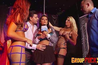 Group Fuck Site - Busty Reporter Is Seduced into an Orgy