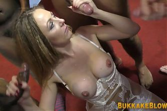 Milf gobbles for cum in mouth in blowbang